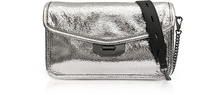 Silver Crackle Leather Field Clutch - Rag & Bone