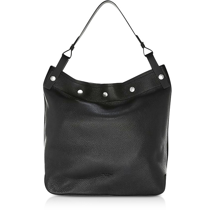 Black Pebbled Leather Compass Snap Hobo Bag - Rag & Bone