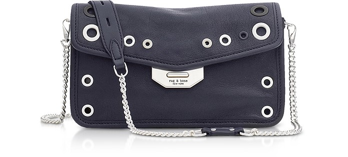 Navy Blue Leather Grommet Field Clutch - Rag & Bone