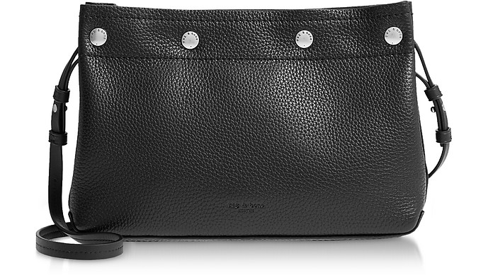 Black Leather Compass Snap Crossbody Bag - Rag & Bone