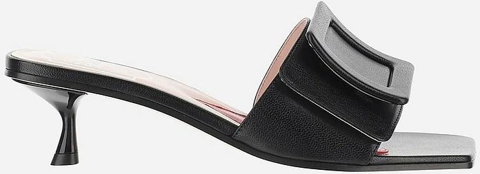 Black Kitten-Heel Slide Sandals - Roger Vivier