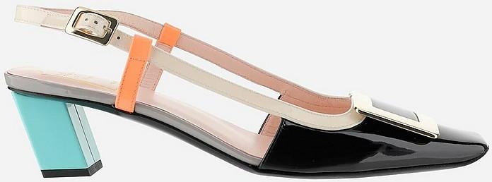 Color Block Patent Leather Mid-Heel Slingback Shoes - Roger Vivier