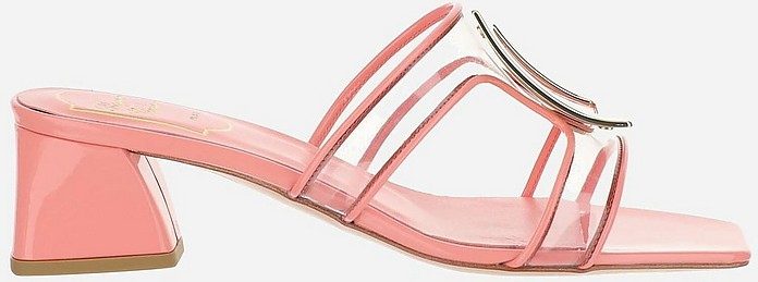 Pink PVC Bikiviv' Mid Heel Mules - Roger Vivier