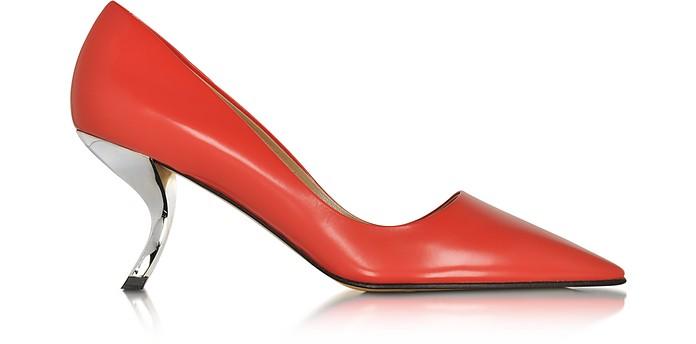 Virgule Red Polished Leather Pump - Roger Vivier