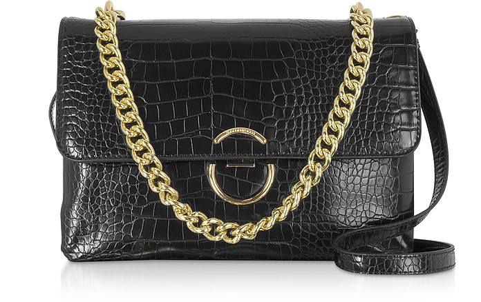 Bento Croco Embossed Eco-Leather Shoulder Bag - Roccobarocco