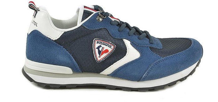 Blue Canvas and Leather Men's Sneakers - Rossignol