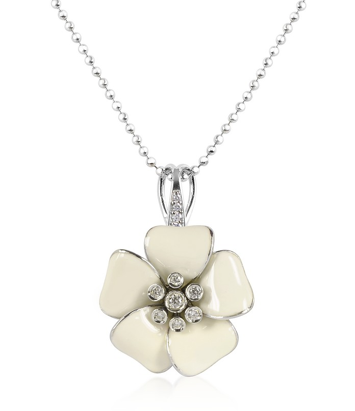 Sterling Silver and White  Enamel Daisy Necklace - Rosato