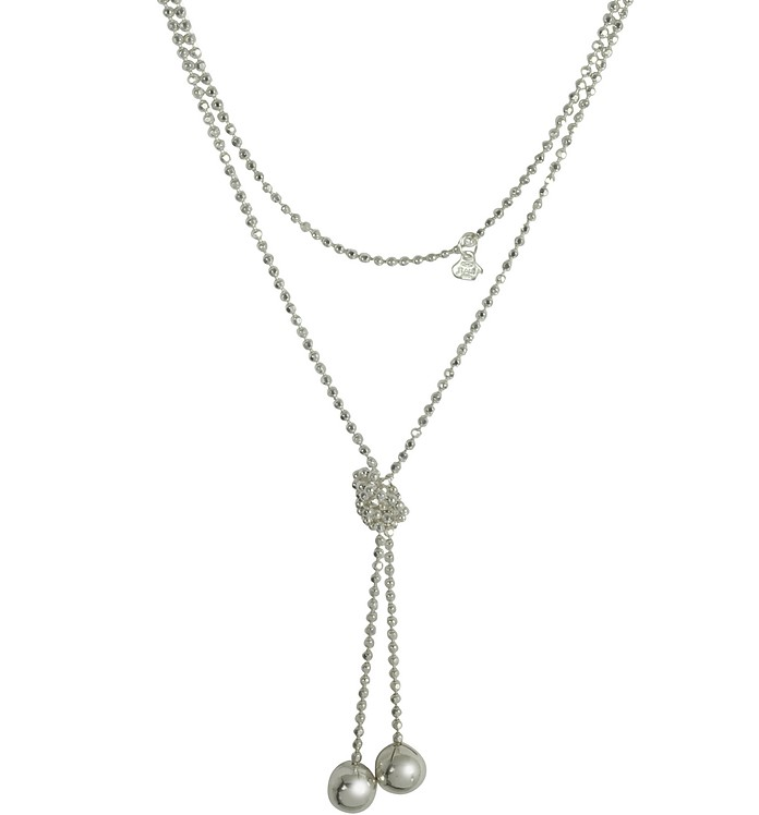 Sterling Silver Beads Self-Tie Necklace - Rosato