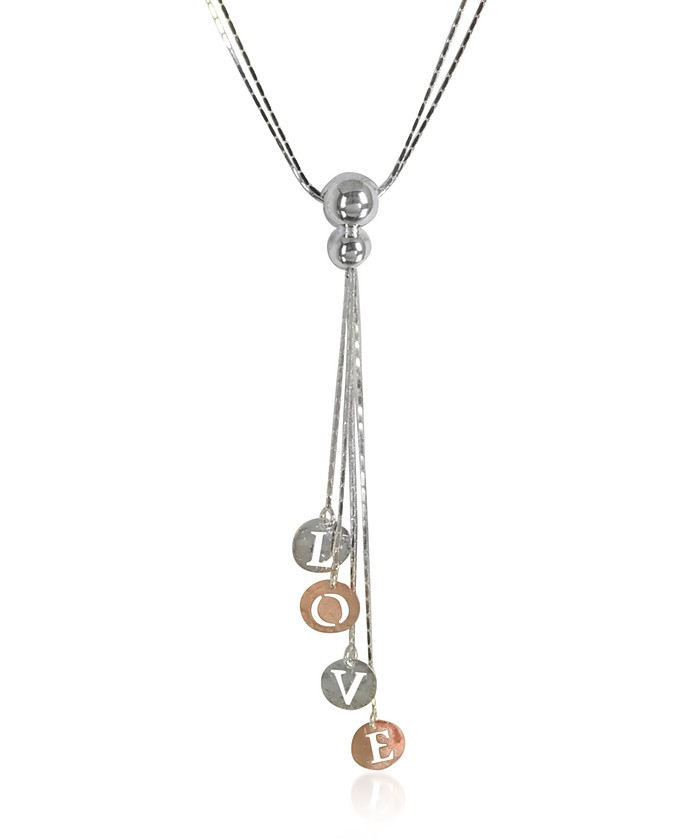 Rose Gold Plated Sterling Silver Love Charm Necklace - Rosato