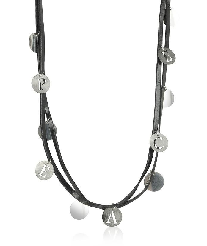 Sterling Silver Peace Charm Chocker - Rosato