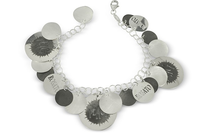 Sterling Silver Peace Cut-Out Charms Bracelet - Rosato