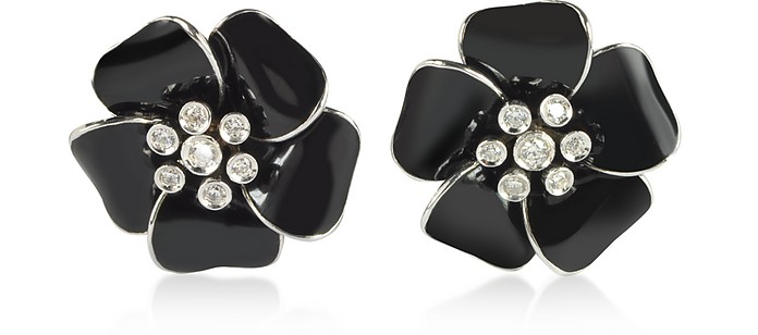 Sterling Silver and Black Enamel Daisy Earrings - Rosato