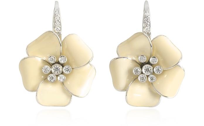 Sterling Silver and White Enamel Marigold Earrings - Rosato