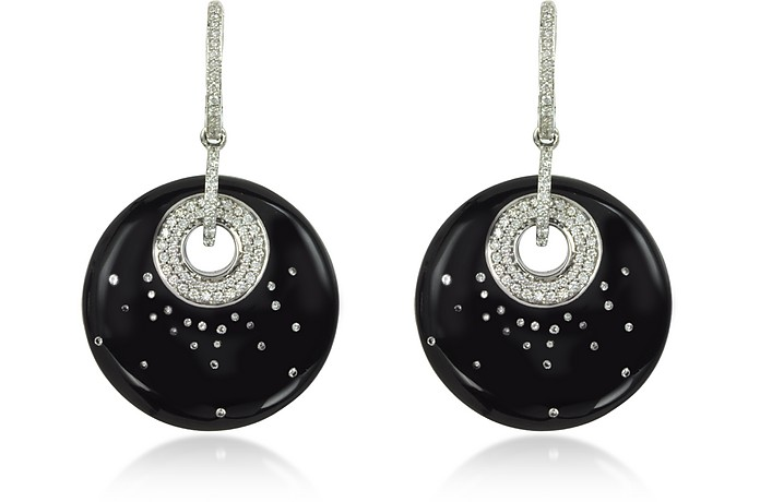 White Gold, Diamonds and Black Enamel Fenice Earrings - Rosato