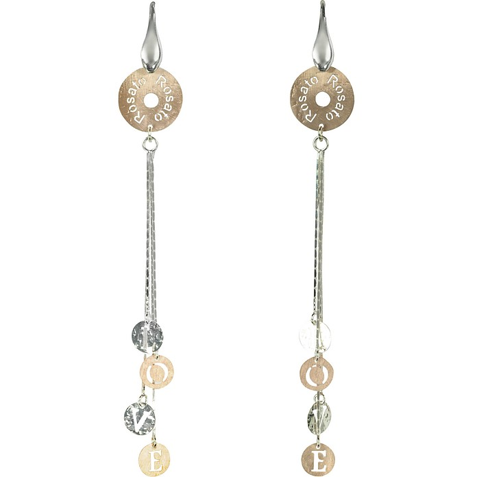 Rose Gold Plated Sterling Silver Love Charm Long Earrings - Rosato