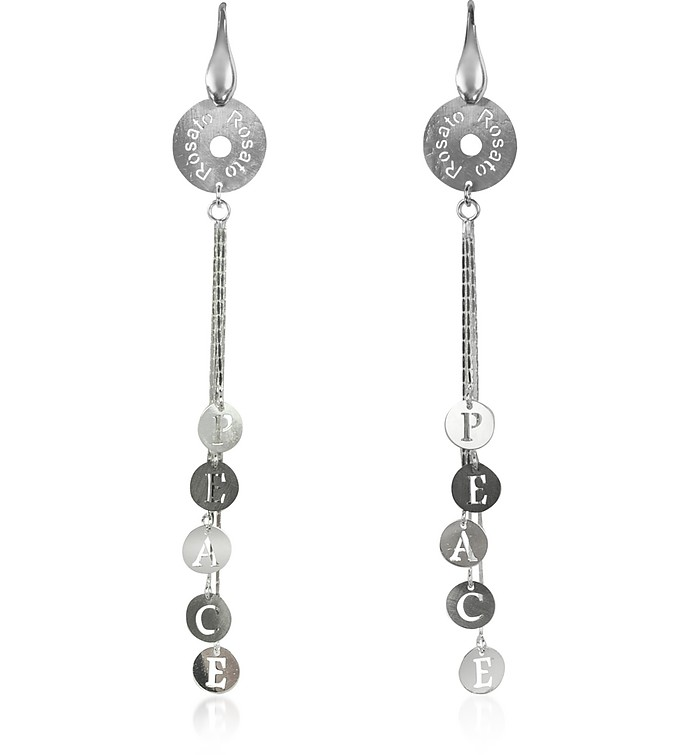 Sterling Silver Peace Charm Long Earrings - Rosato