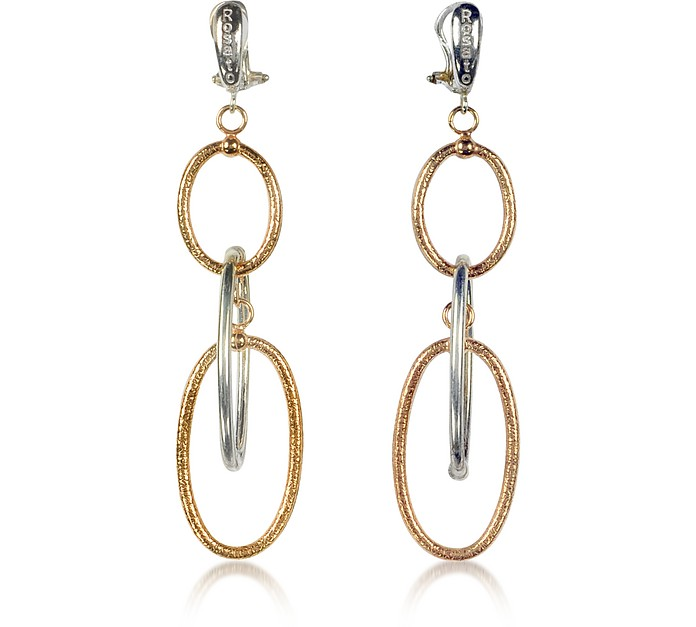 Rose Gold Plated Sterling Silver Piuma Long Earrings - Rosato