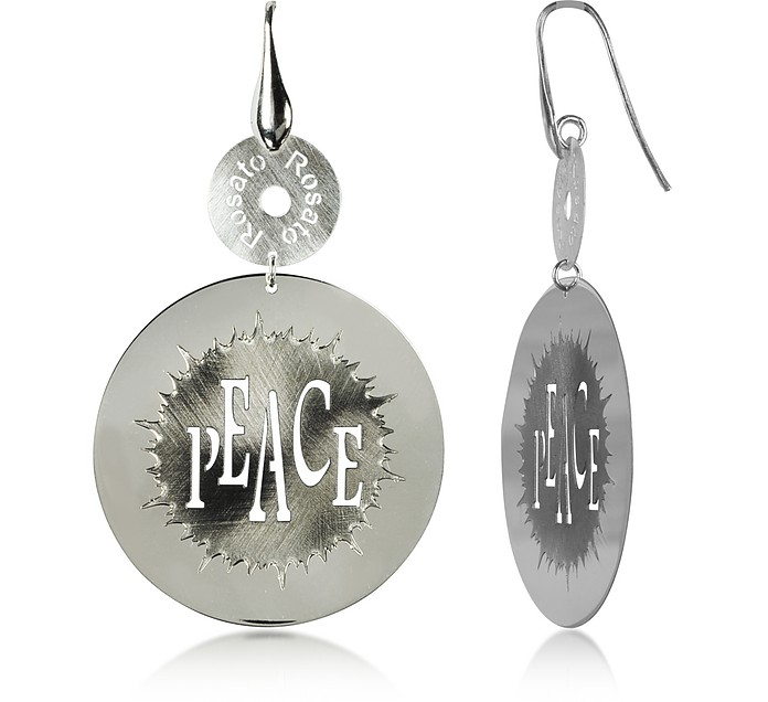 Sterling Silver Peace Cut-Out Round Earrings - Rosato