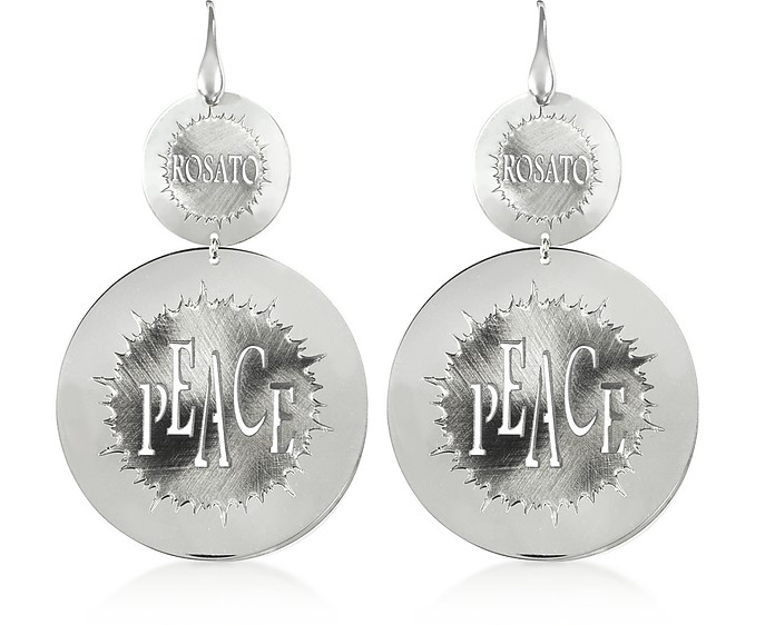 Sterling Silver Peace Cut-Out Large Round Earrings - Rosato