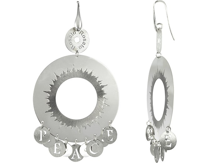 Sterling Silver Peace Hoop Earrings - Rosato