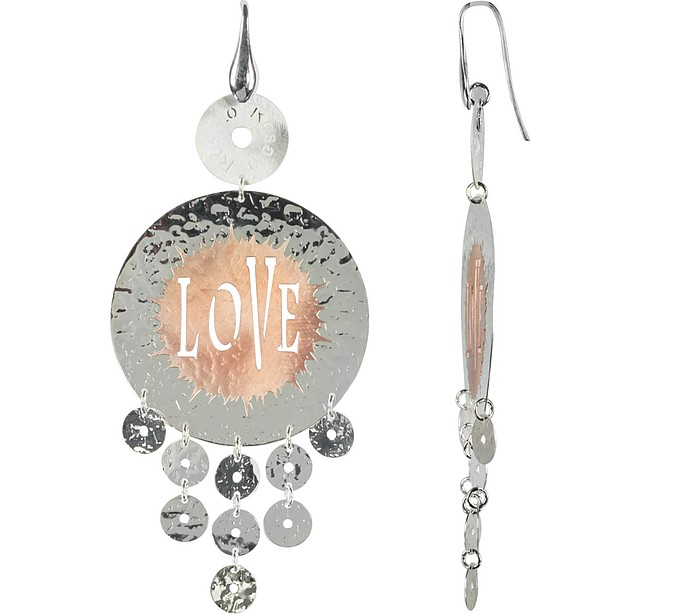 Rose Gold Tone Sterling Silver Love Round Earrings - Rosato