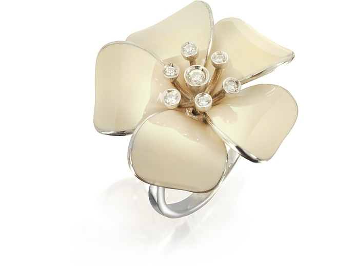 Sterling Silver and White Enamel Daisy Ring w/Zircons - Rosato