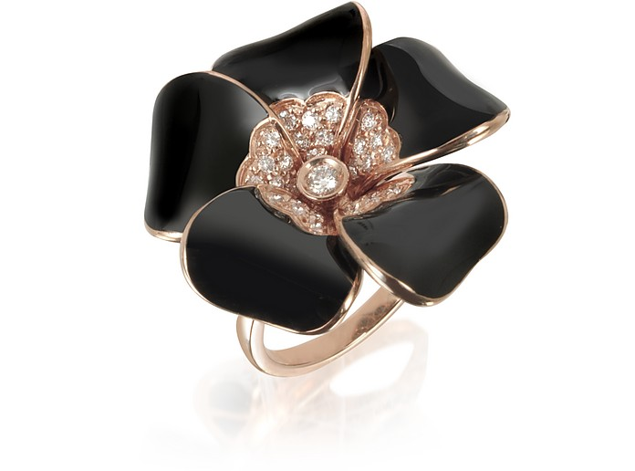 White  Diamond, Black Enamel and Rose Gold Iris Ring - Rosato