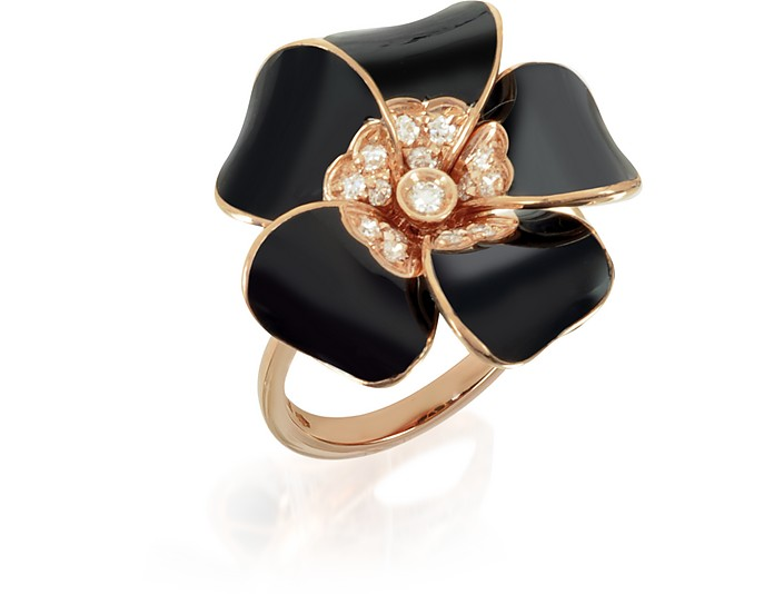 White  Diamond, Black Enamel and Rose Gold Lily Ring - Rosato
