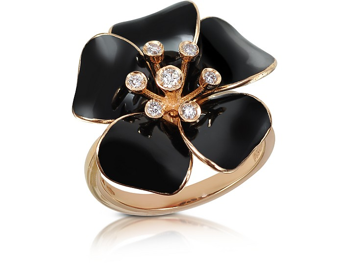 Marigold - Diamond and 18K Gold Black Small Flower Ring - Rosato
