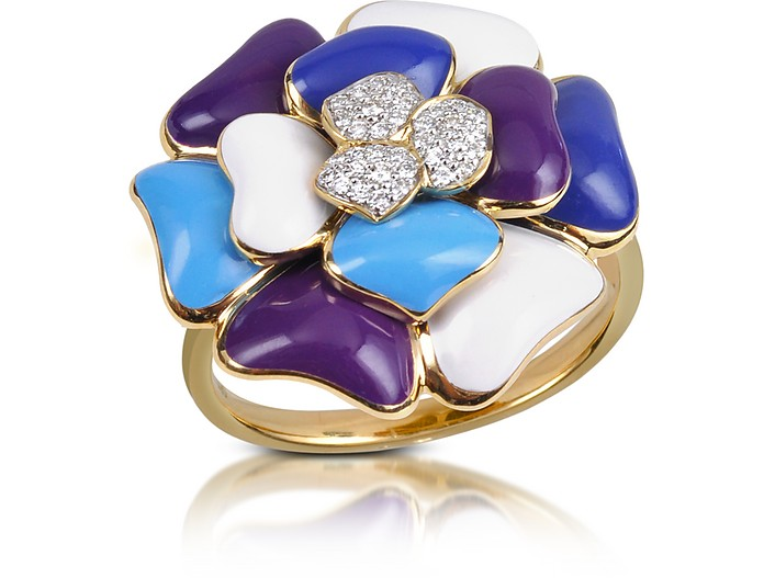 Tearose - Diamond and 18K Gold Blue Small Flower Ring - Rosato