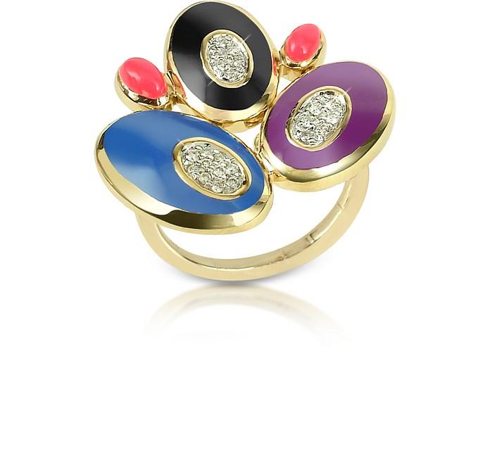 70s Oval - Diamond and Enamel 18K Gold Ring - Rosato