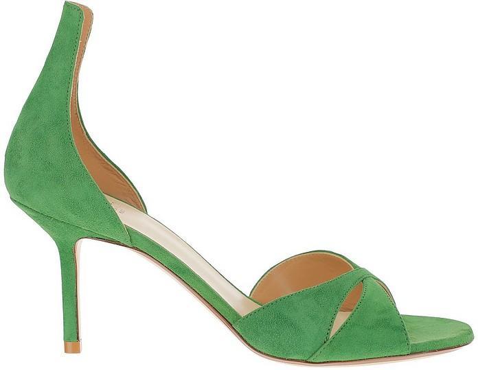 Green Suede Mid Heel Open Toe Pumps - Francesco Russo