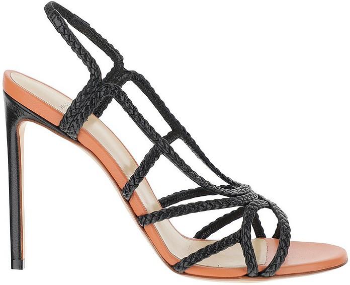 Black Braided Leather High Heel Sandals - Francesco Russo