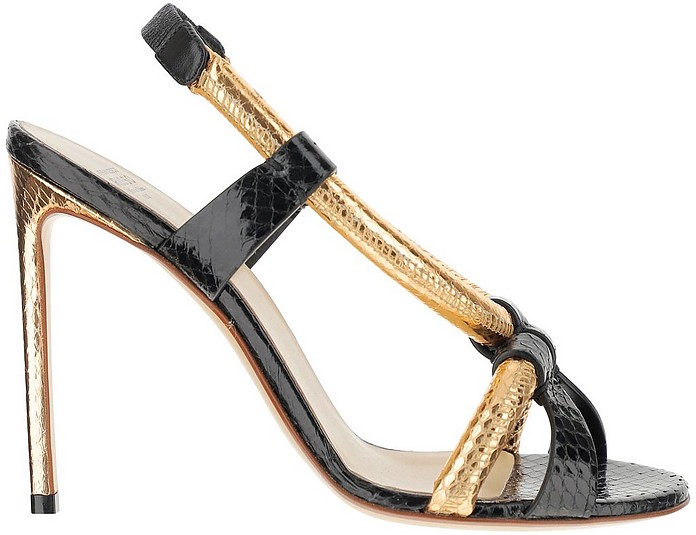 Black and Metallic Gold Leather High Heel Sandals - Francesco Russo