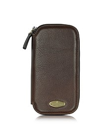 Brown Leather Watch Box with Zipper - Forzieri
