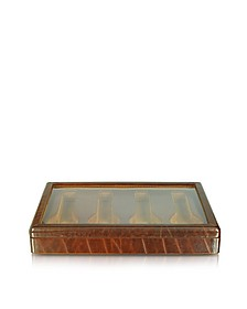 Brown Leather Four-Watch Box - Forzieri