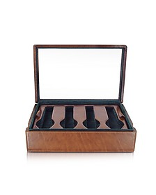 Brown Leather Eight-Watch Box - Forzieri