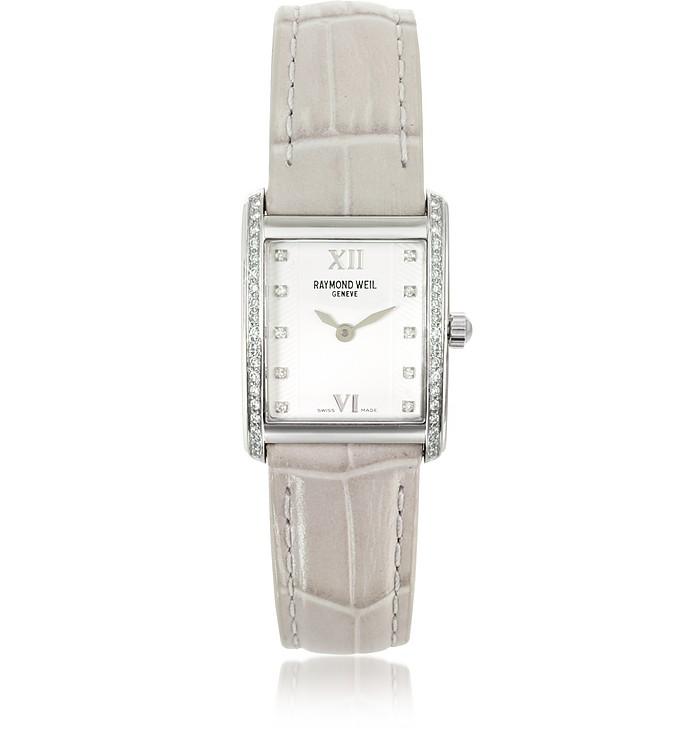 Don Giovanni - Modische Damenuhr mit Diamanten und beigem Armband mit Krokoprägung - Raymond Weil