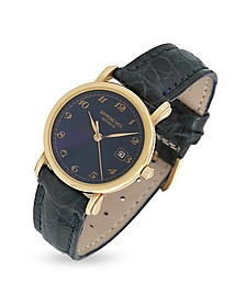 Blue Dial 18K Gold and Croco Leather Dress Watch - Raymond Weil