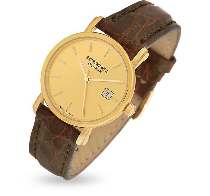 Armbanduhr aus 18k Gold mit krokogeprägtem Armband in braun - Raymond Weil