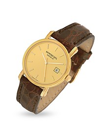 Brown Croco-Stamped Leather Strap 18K Gold Date Dress Watch - Raymond Weil