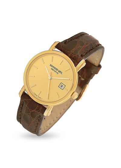 Brown Croco-Stamped Leather Strap 18K Gold Date Dress Watch - Raymond Weil