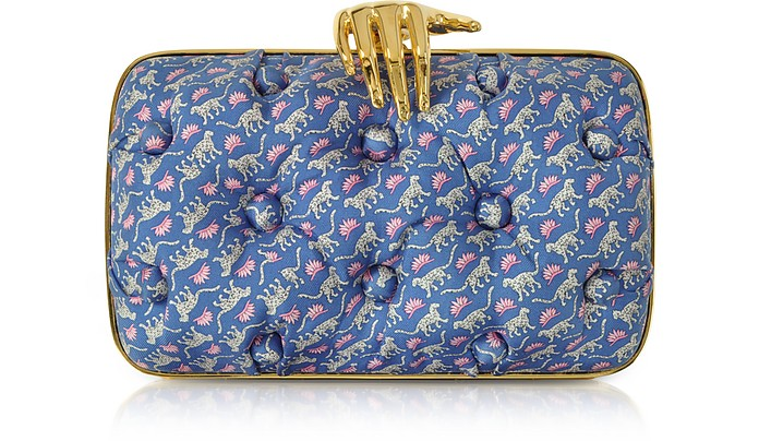 Leopards Printed Blue Satin Silk Carmen Clutch w/ Golden Hand - Benedetta Bruzziches