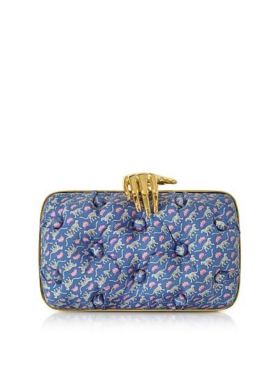 Leopards Printed Blue Satin Silk Carmen Clutch w/ Golden Hand - Benedetta Bruzziches