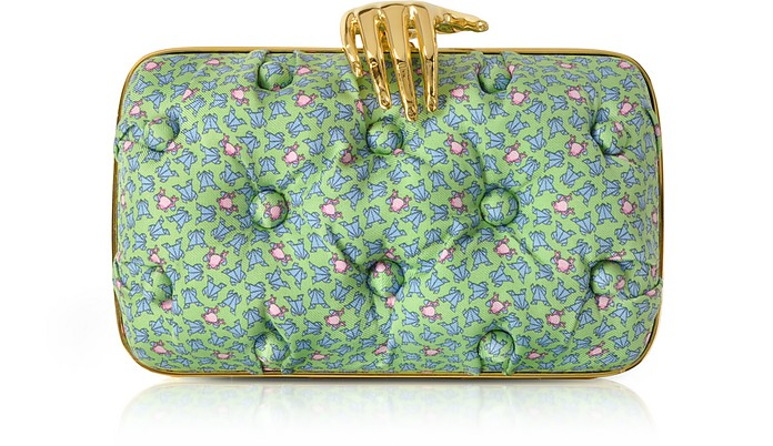 Frogs Printed Green Satin Silk Carmen Clutch w/ Golden Hand - Benedetta Bruzziches