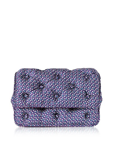 Turtles Printed Violet Satin Silk Carmen Shoulder Bag - Benedetta Bruzziches