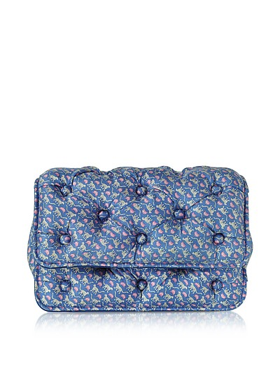 Leopards Printed Blue Satin Silk Carmen Shoulder Strap - Benedetta Bruzziches
