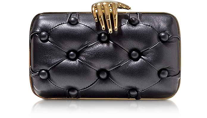 Black Leather Carmen with Hand Clutch - Benedetta Bruzziches