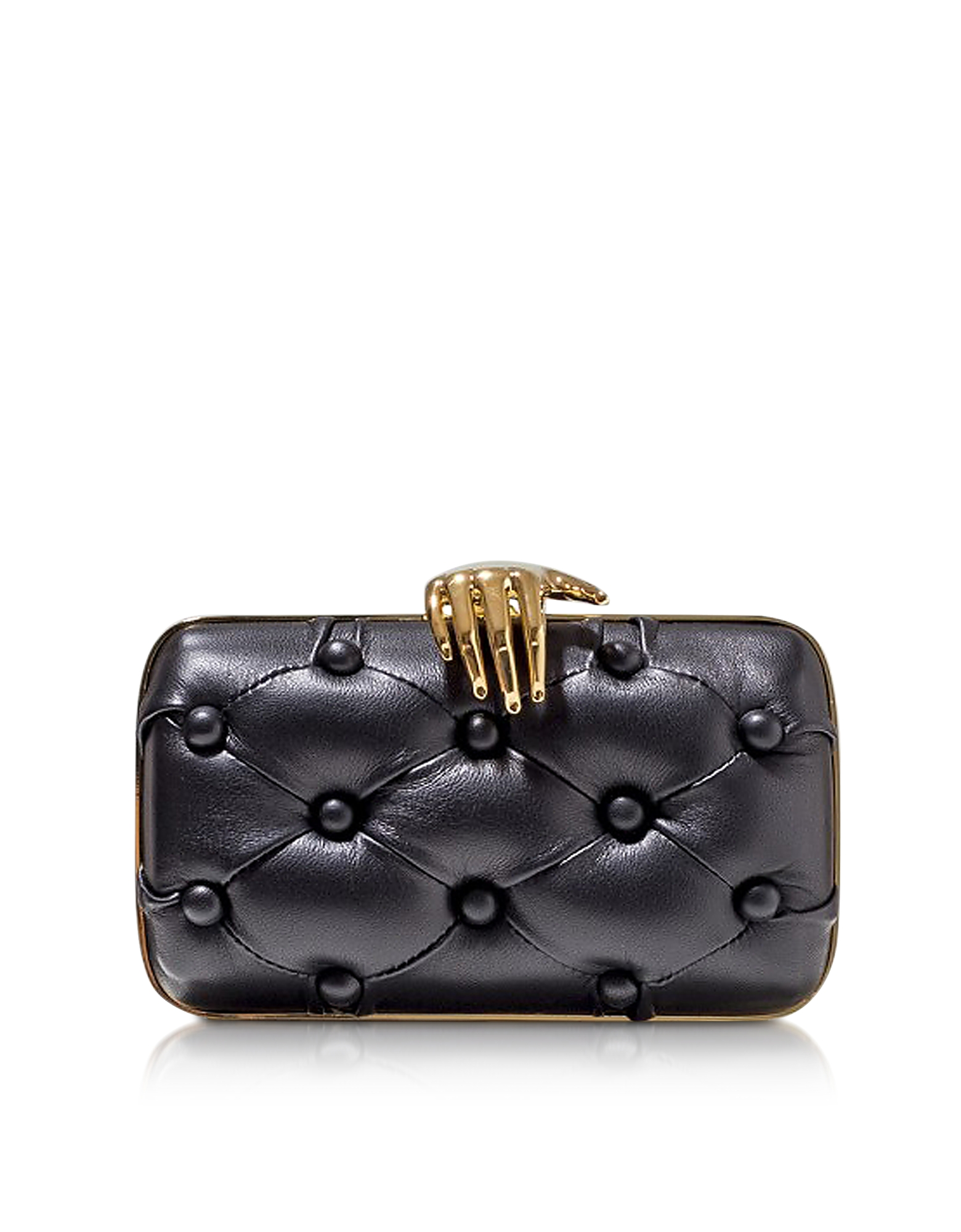 Benedetta Bruzziches BLACK LEATHER CARMEN WITH HAND CLUTCH
