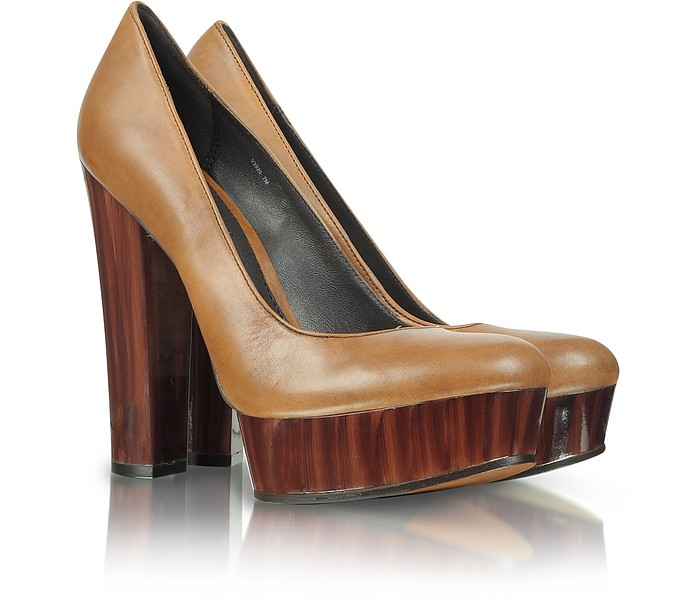 Leila - Brown Leather Platform Pump - Rachel Zoe 瑞秋-佐伊